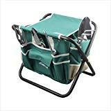 haoyin Garden Tools Sets- Heavy Duty Gardening Gift Tool Kit Including Folding Stool with Tool Bag 5 Sturdy Stainless Steel Tools with Wooden Handles for Women Men