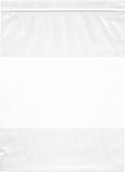 10'' x 13'', 4 Mil (Case of 500) Heavy Duty Plastic Reclosable Zipper Bags w/ White Block