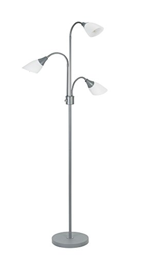 Catalina Lighting Medusa 3 Floor Lamp with Adjustable Lights, Silver Base with White Shades, 20743-000