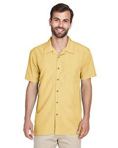 Harriton Men's Short Sleeve Barbados Textured Button Down Camp Shirt M560 yellow X-Large (Button Mens Casual Shirts)