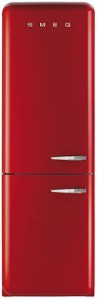 Smeg FAB32URDLN 24″ 50's Retro Style Bottom Freezer Refrigerator with 10.74 cu. ft. Capacity No Frost Fast-Freezing Automatic Defrost Adjustable Glass Shelves and LED Interior Lighting: Red with Left