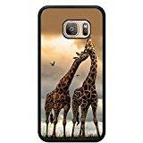 Drop proof designer pair giraffes designer animal pattern design print cover Case for Samsung Galaxy S7 giraffe print Black tpu Case