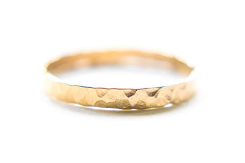 Hammered Gold Band - 2mm Wide Handmade Ring Size 9 - Ring Wedding Western