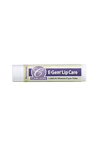 Vitamin E Lip Balm, Carlson E-Gem Lip Care 1,000 IU, No Parabens - No Phthalates - No PABA, 1 Tube
