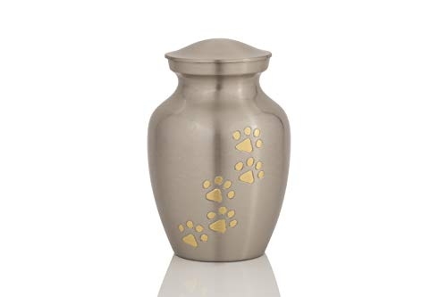 Enshrined Memorials Cremation Urn for Ashes - Cerberus Series Affordable Brass Handcrafted Pets Dogs Cats Funeral Burial Small 6 inch Paw Prints