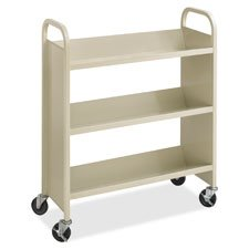 Safco 5358SA Steel Book Cart Three-Shelf 36w x 14-1/2d x 43-1/2h Sand by Safco