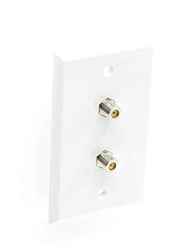 - THE CIMPLE CO - White Video Wall Jack for Twin (Dual Coax Cable) F Type Coaxial Wallplate (Wall Plate) - Two 3 GHz Couplers Approved for Comcast, DIRECTV, Dish Network, and Antennas (4 Pack)
