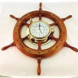 (Nagina International, Teakwood Ship's Wheel Porthole Tide Clock)
