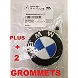 : BMW Hood roundel emblem logo replacement hood 82mm + 2 Grommets for ALL Models BMW E30 E36 E46 E34 E39 E60 E65 E38 X3 X5 X6 3 4 5 6 7 8
