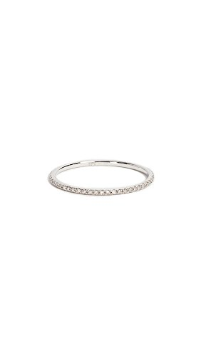 EF Collection Women's Diamond Eternity Stack Ring, White Gold/Clear, 8