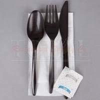 E188000 Empress Heavy Weight Cutlery Kit PS Black Fork, Teaspoon, Knife, Salt & Pepper, Napkin 250 per case