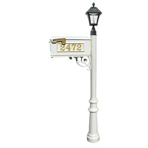Mailbox w/Post Fluted Base & Solar Lamp, with Vinyl Numbers, White (Bayview Solar Lamp)