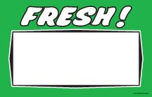 (CYB333 Fresh Retail Price Cards Signs for Produce Supermarkets - Green and Black Pack of 100 Cards - Business Store Signage (5 1/2