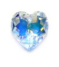 Heart Focal Bead - Swarovski 6215 Top Hole Heart Beads, Aurora Borealis, Crystal, 18mm