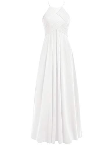 Lang A Brautjungfernkleider Neckholder Ballkleider Linie 48W Rückenfrei Hochzeitskleider Abendkleider Chiffon Elfenbein dfHqHa