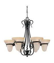 Lake Traditional Chandelier - Sea Gull Lighting Saranac 3211-185 6-Light Chandelier - 31.5 diam. in. - Forged Iron