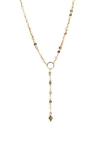 Ettika Destination Gold Tone Circle Drop Lariat Necklace