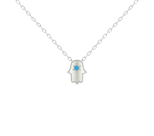 Silver White Hamsa & Jewish Star Necklace for Women and Girls | Alef Bet