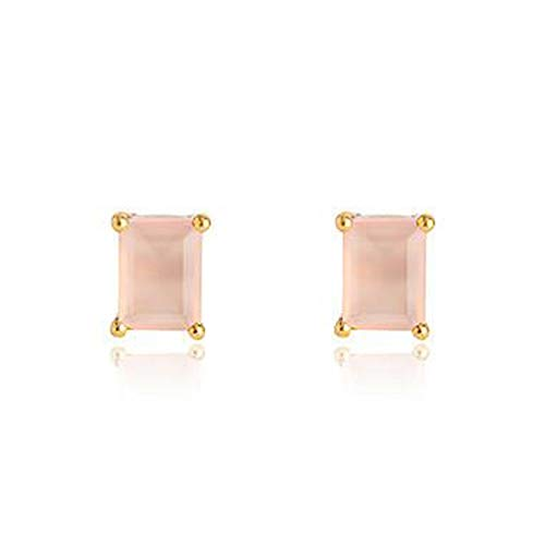 (Nathis Baguette Pink Chalcedony Studs By Sizzling Silver)