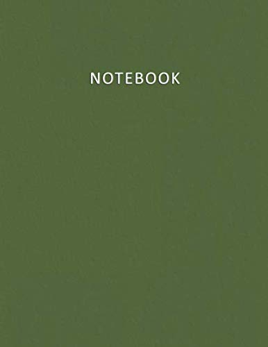 Notebook: Unruled - Unlined - Plain - blank Notebook - 100 pages numbered - Elegant and Modern Olive Green color - A4/Letter Size - Diary, Journal, Composition Book, doodles