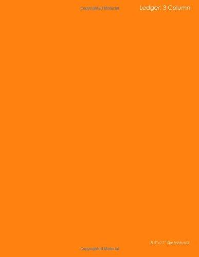 """Download Ledger: 3 Column: 8.5""""x11"""" Orange Design Sketchbooks Ledger pdf epub"""