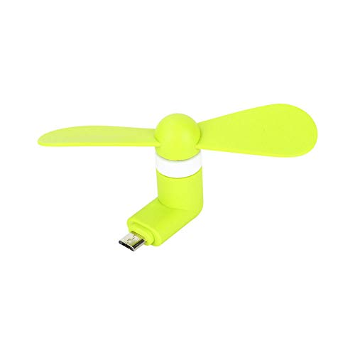 (Empire Choice Micro USB Android Phone Fan, Mini Portable Phone Cooler Fan for Samsung Android Devices, Two Leaves Handheld Accessory Cooling Fan for Home Travel Office Outdoor Activities (Green))