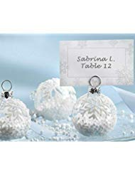 Kate Aspen Place Card Holders (Place Cards Included) - Set of 12 - Table Number Holder for Weddings, Snow Flurry Flocked Glass Ornament for Table Assignments at Bridal Showers or Anniversaries (Card Holders Christmas Making Place)