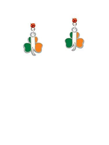 2-D Irish Flag Shamrock Orange Crystal Post Earrings