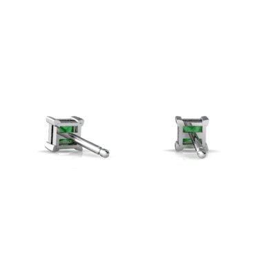 14kt Gold Emerald 3mm Square Princess Cut Stud Earrings