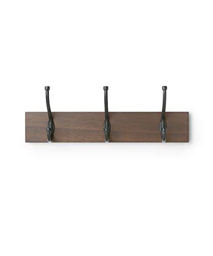 AmazonBasics Wall Mounted Coat Rack - 3 Standard Hook, Walnut ()
