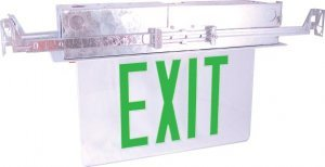 Recessed Edge Lit Exit Sign Green LED Bottom Access with Battery Backup ESW-ELG-Z