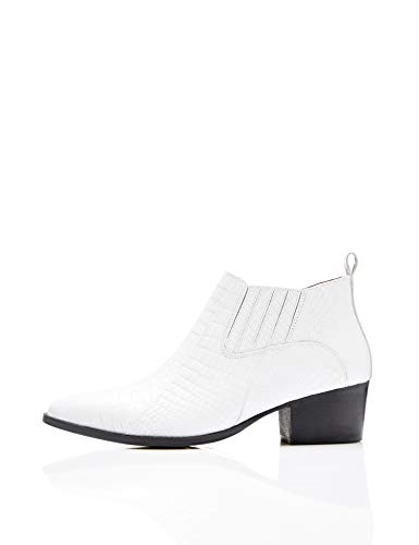 Find White white Blanc Leather Femme Croc Embellished Botines qxn68RqC