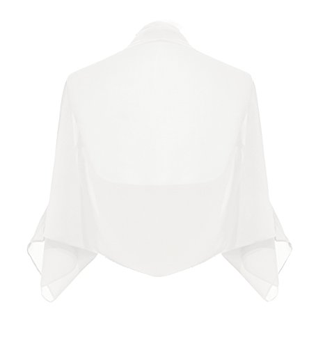 LANSITINA Women's Chiffon Wraps Jacket for Special Occasion Dresses (Ivory, 18)