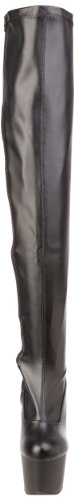 Pleaser Adore 3000 - Botas Mujer Negro (Negro (Blk Str Faux Leather/Blk Matte))