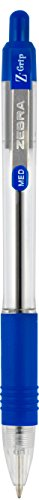 Zebra Z-Grip Retractable Ballpoint Pen, Medium, 1.0 mm, Clear Barrel, Blue Ink, 12-Count  (22220)