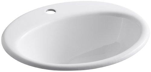 KOHLER K-2905-1-0 Farmington Self-Rimming Bathroom Sink, White ()