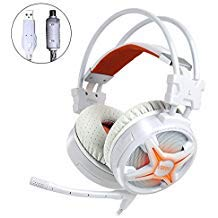 (WeIM 2019 Gaming Headset Virgo M60 White 7.1 Surround Sound for PC, Intelligent Vibration, Strong Bass, Voice Changer, Flexible Sensitive Mic, LED Illumination, USB Connector, Compatible with PS4)