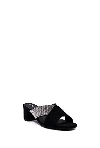 CHIC NANA Block Heel Sandals, Rhinestone Strap. Black