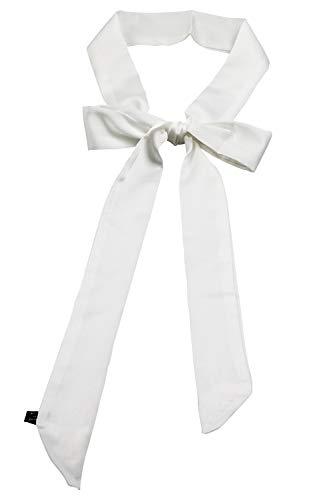 (Teemico 1 Pc Plain Solid Color Satin Summer Skinny Scarf Fashion Headwrap Wristband Bag Assories (White))