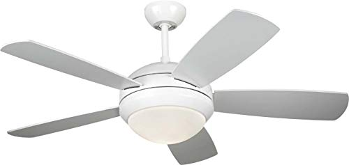 Monte Carlo 5DI44WHD Discus II 44 Ceiling Fan with Light and Pull Chain, 5 Blades, White