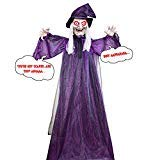 VIVREAL 72 Life Size Halloween Witch Decorations, Hanging Talking, Glowing Red Eyes, Creepy Face&Posable Arms Outdoor Animated Haunted Props, Large, Purple
