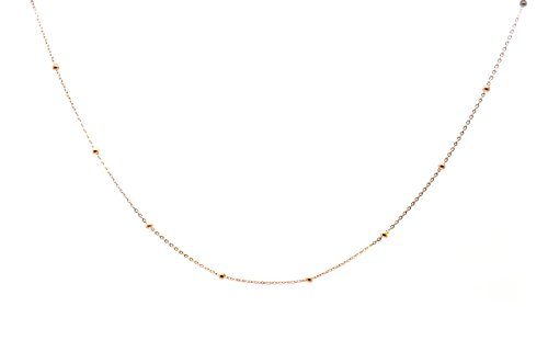 Chelsea Jewelry Basic Collections 1.2mm Wide 18K Rose Gold Ultra Thin Cable Chain With Beads Chain Necklace (18 (International Chain Cable)