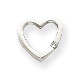 Or blanc 14 carats serti de diamants bruts pendentif en forme de cœur-Dimensions :  11 x 12 mm-JewelryWeb