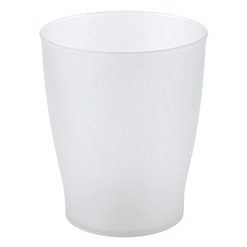 mDesign Slim Round Plastic Small Trash Can Wastebasket, Garbage Container Bin for Bathrooms, Powder Rooms, Kitchens, Home Offices, Kids Rooms - Clear Frosted