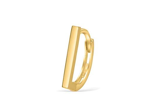 14K Solid Yellow Gold Jewelry Skinny Horizontal Parallel Square Bar Stick Tragus Cartilage Snug Rook Daith Helix Ear Segment Clicker Hoop Ring Piercing Earring For Women (Gold Stick Pin 14k)