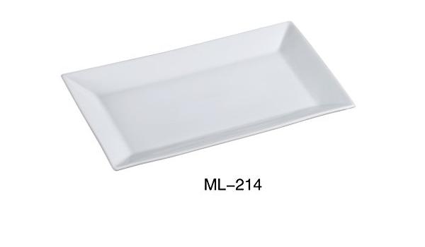 Yanco Ml 214 Rectangular Plate 14 Length X 8 Width Porcelain Super White Pack Of 12 Industrial Scientific