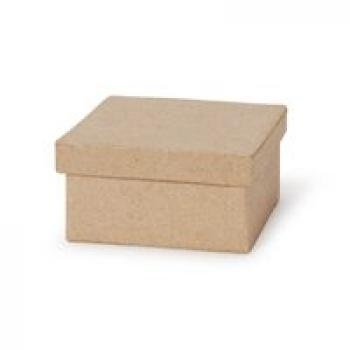 """3"""" Small Square Paper Mache Boxes with Lids - Package of 12 Boxes"""
