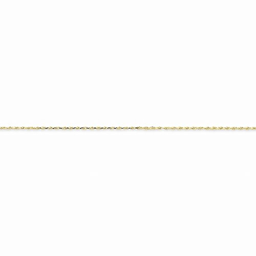 10k Yellow Gold 1.0mm Machine Made Diamond-cut Rope Chain Necklace 20 Inch Gold 1 Mm Machine