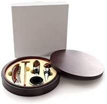 MKTOSASA - Set de Vinos con Acabado en Madera Natural. 5 Accesorios de Acero Inoxidable y Madera: Sacacorchos, Tapón, Dosificador, Recogegotas y Termómetro - 17x3.5x17