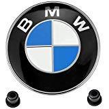 BMW Emblems Hood/Trunk, BMW 82mm Logo Replacement + 2 Grommets for ALL Models BMW E46 E30 E36 E34 E38 E39 E60 E65 E90 325i 328i X3 X5 X6 1 3 5 6 7